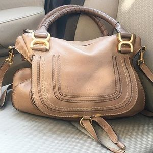 Chloe Small Marcie Double-Carry Satchel Bag in Tan